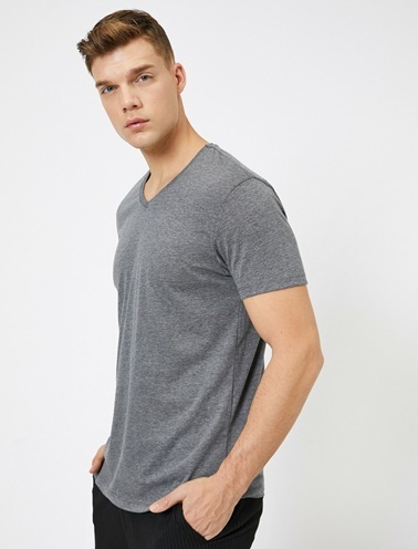 Koton V Yaka %100 Pamuk Slim Fit Basic T-Shirt Gri